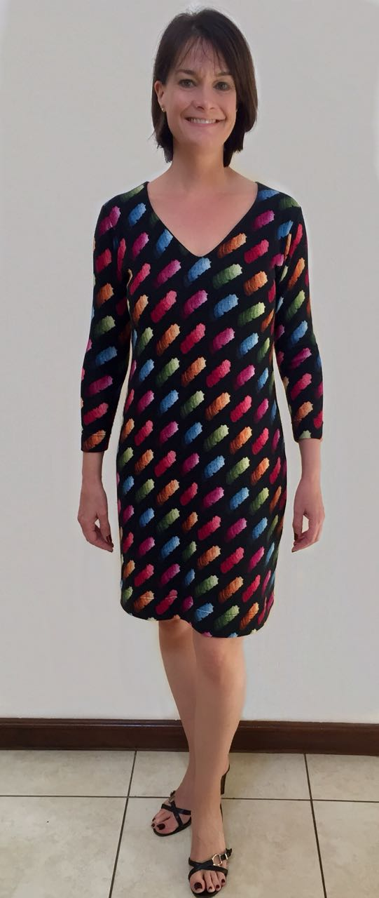 multicolour-lined-v-dress